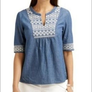 Vineyard Vines Embroidered Chambray Blouse Top